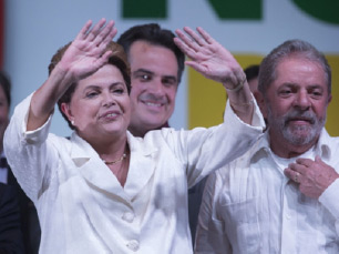 Dilma Rousseff, the incumbent, at a celebratory event following her victory in Brazil's Presidential Elections.